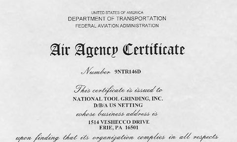 Air Agency Certification for US Netting