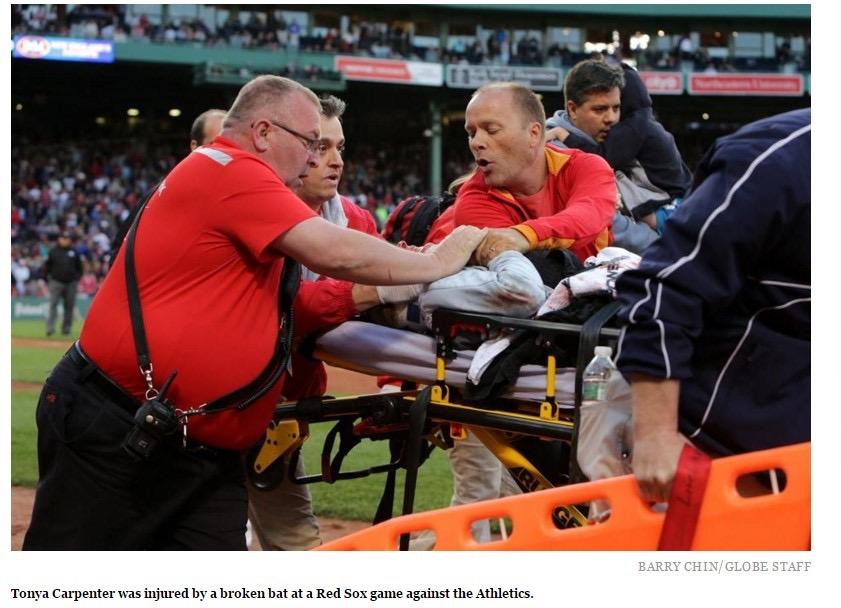 Tonya Carpenter injured by a broken bat at a Red Sox game.