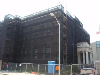Debris Netting Wrap on Building