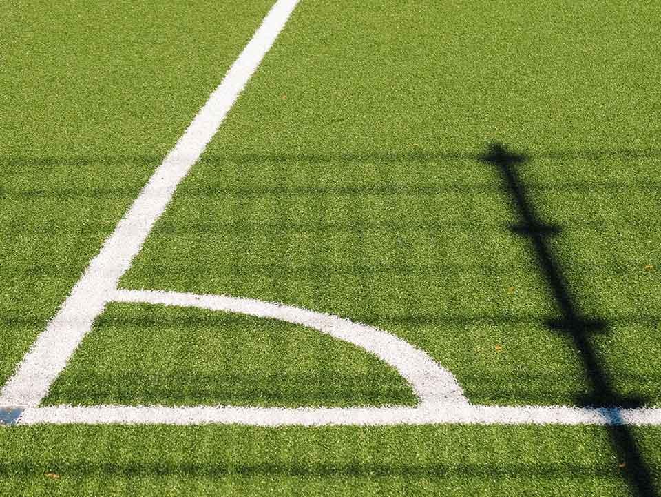 Green Baseball Field with Netting Post