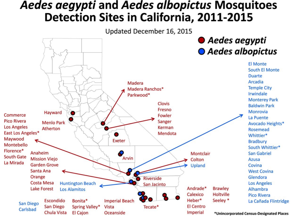 map of zika virus reach in california