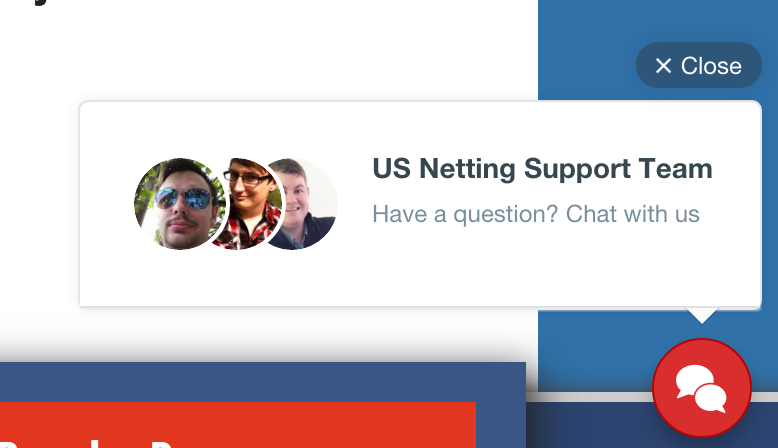 US Netting support chat button example