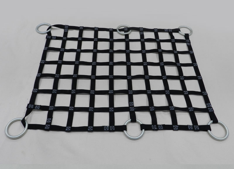 Black Custom Cargo Netting with O-Rings Sewn in on tabs
