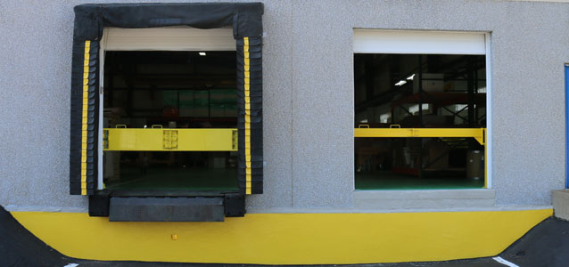Two loading dock doors with our dock safety barriers in place