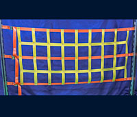 Half height freight net with cam buckles