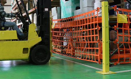 Post Mounted Loading Dock Safety Net in use