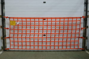 Front view of a wall mounted loading dock safety net