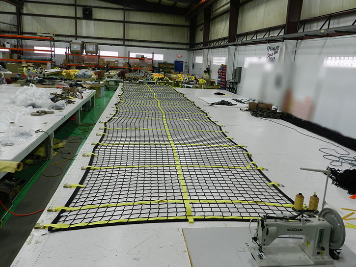 Custom truck cargo net in production