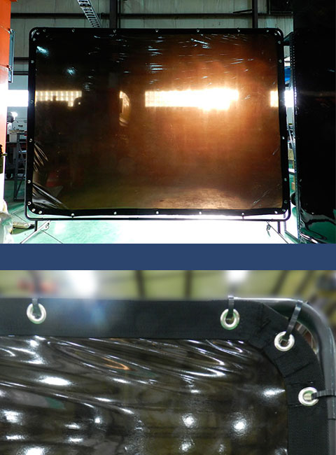 Welding panel attached to frame